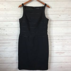 WHBM Black Knee Length Sleeveless Shift Dress